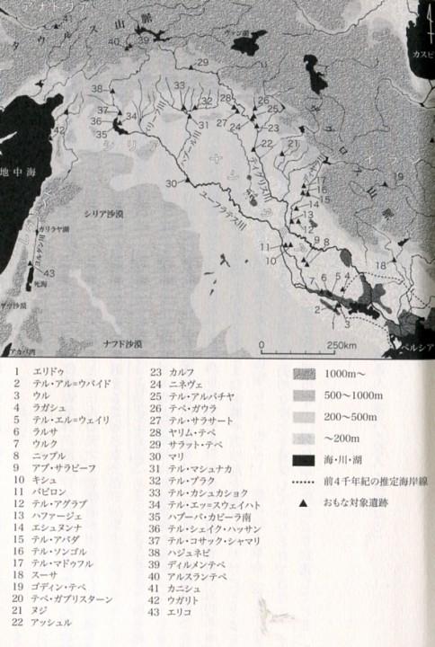 図3 メソポタミアの主要遺跡