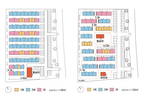 図—2 「熊本型D」配置計画(右)と従来型配置計画(左)
