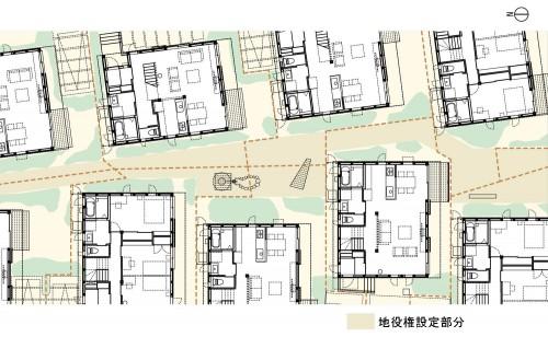 図6:ソーラータウン府中配置図 各住戸の敷地を園路に供出している