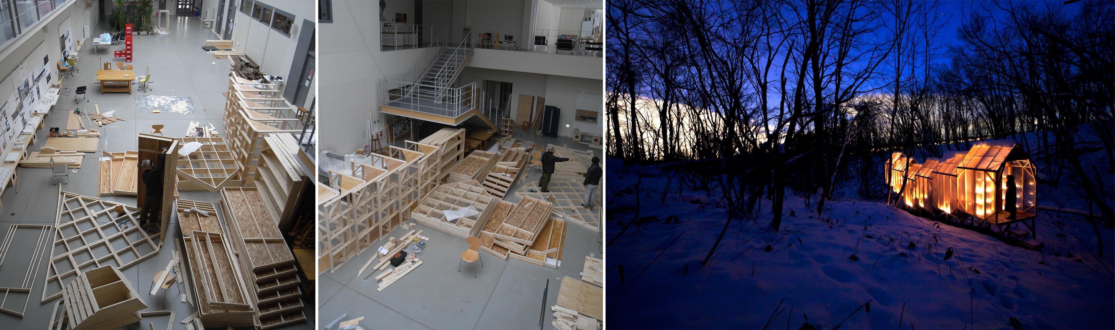写真1:卒業制作シーズンのキャンパス内のようす。学生ひとりが利用できるスペースも北海道ならではです 作品は西田秀己君卒業制作「集会所ハウス」