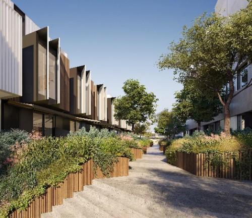 クリフトンヒルプロジェクト:鹿島オーストラリア傘下子会社の開発・施工案件。メルボルン近郊住宅地における「小さくても快適な生活空間の実現」をテーマとしたローカル層向けの集合住宅。
