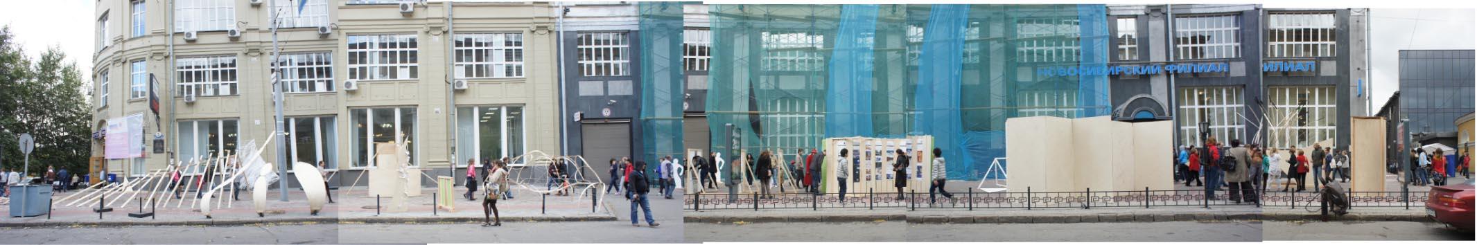 写真3:シベリア地方・ノボシビルスク芸術建築大学とのプロジェクト。レーニン通りでの仮設空間
