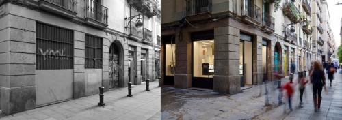 エリサベッツ通りの店舗の改修前後の様子、バルセロナ(2015)
