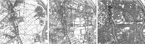 図2 赤羽の市街化 左から1917年、1932年、1945年(1/25,000地形図) 平良氏は1932年夏に宮古から赤羽に移った。