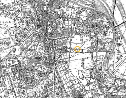 図1 1930年代初の赤羽と平良氏宅のおよその位置 1/25,000地形図「赤羽」1932年