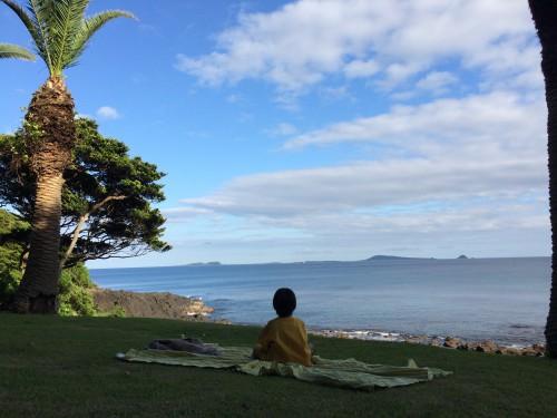 海を眺めながら息子とピクニック(画像提供:芳澤瞳)