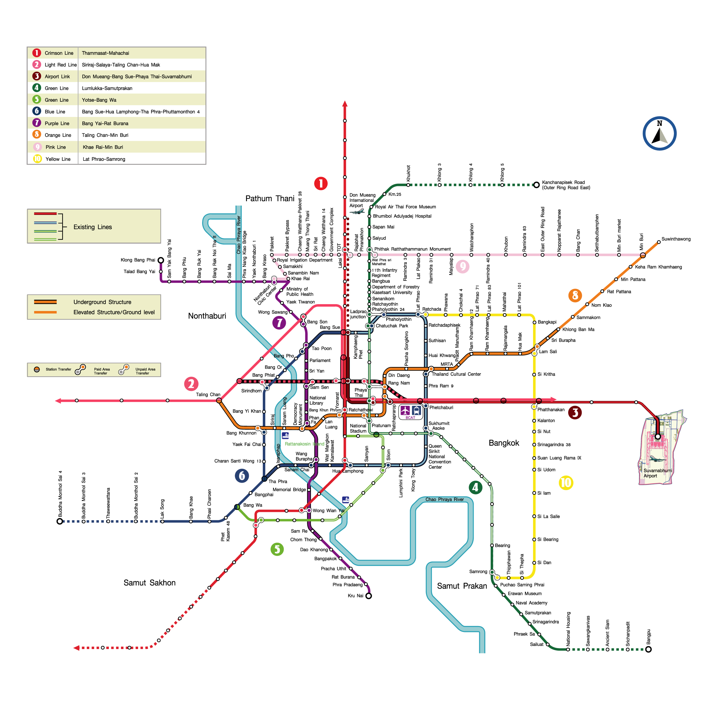 バンコク都市圏公共交通機関基本計画の完成予想図 出典:Mass Rapid Transit Authority of Thailand