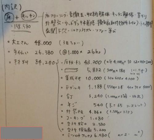 細かく書き留められたDIY費用(画像提供:芳澤瞳)