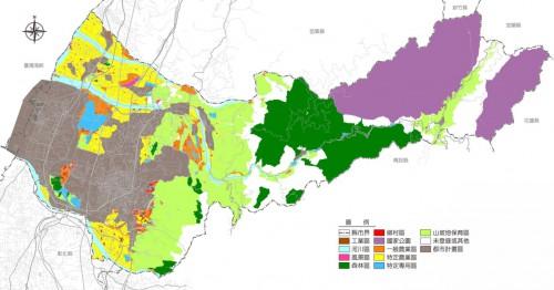 (土地使用分区分布図 出展:台中市政府)